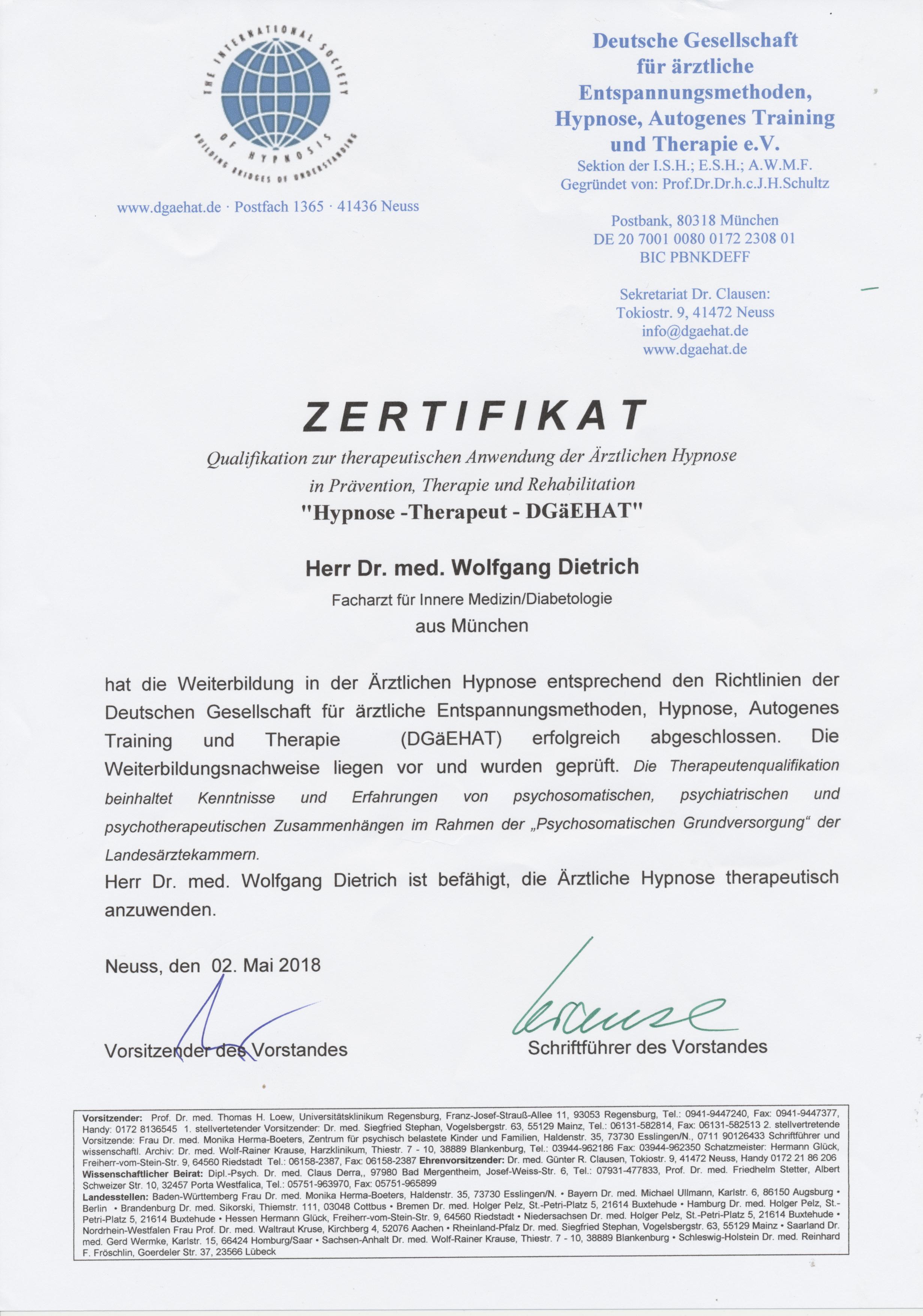 Hypnosetherapeut DGäEHAT