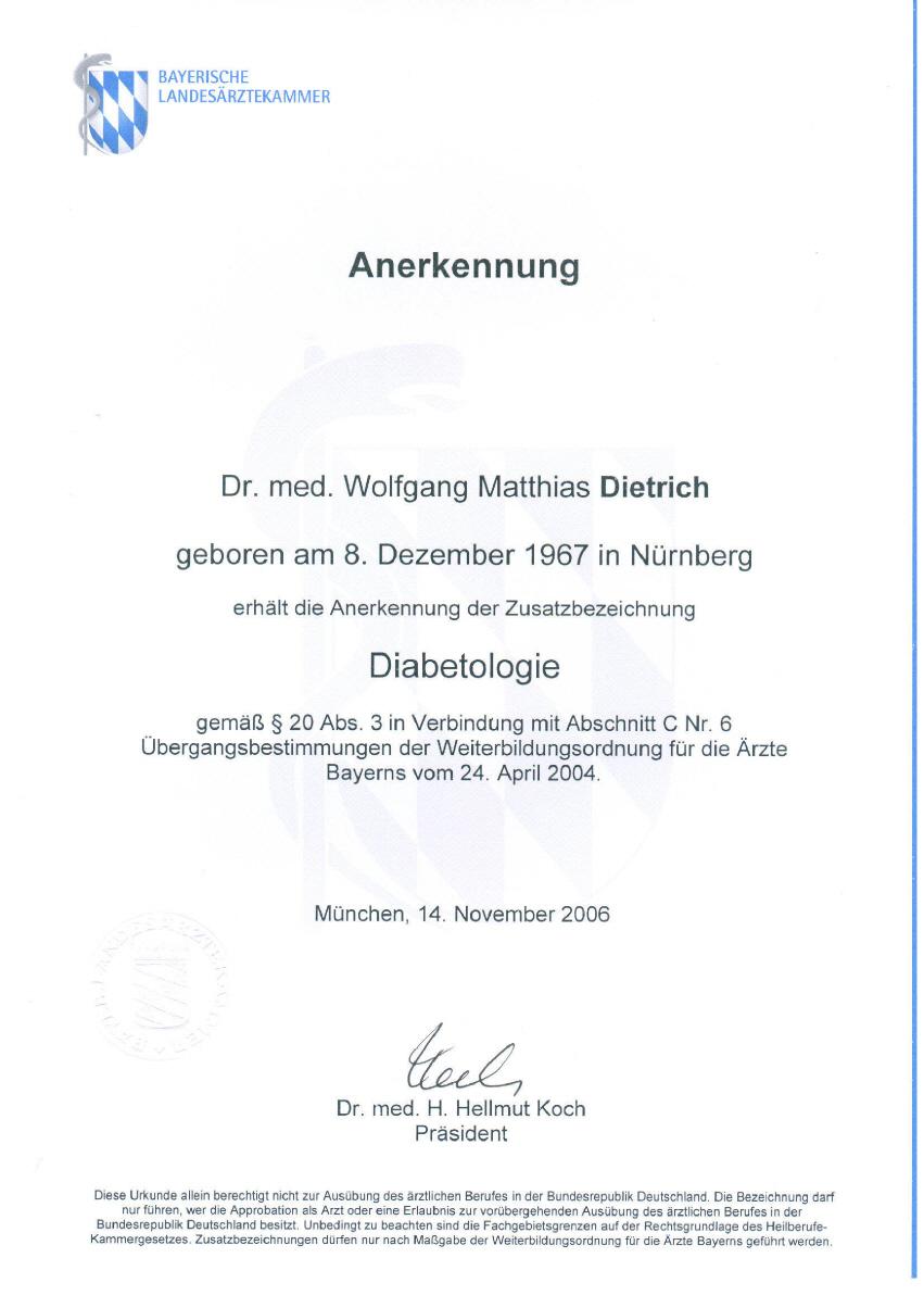 Zusatzbezeichnung Diabetologie
